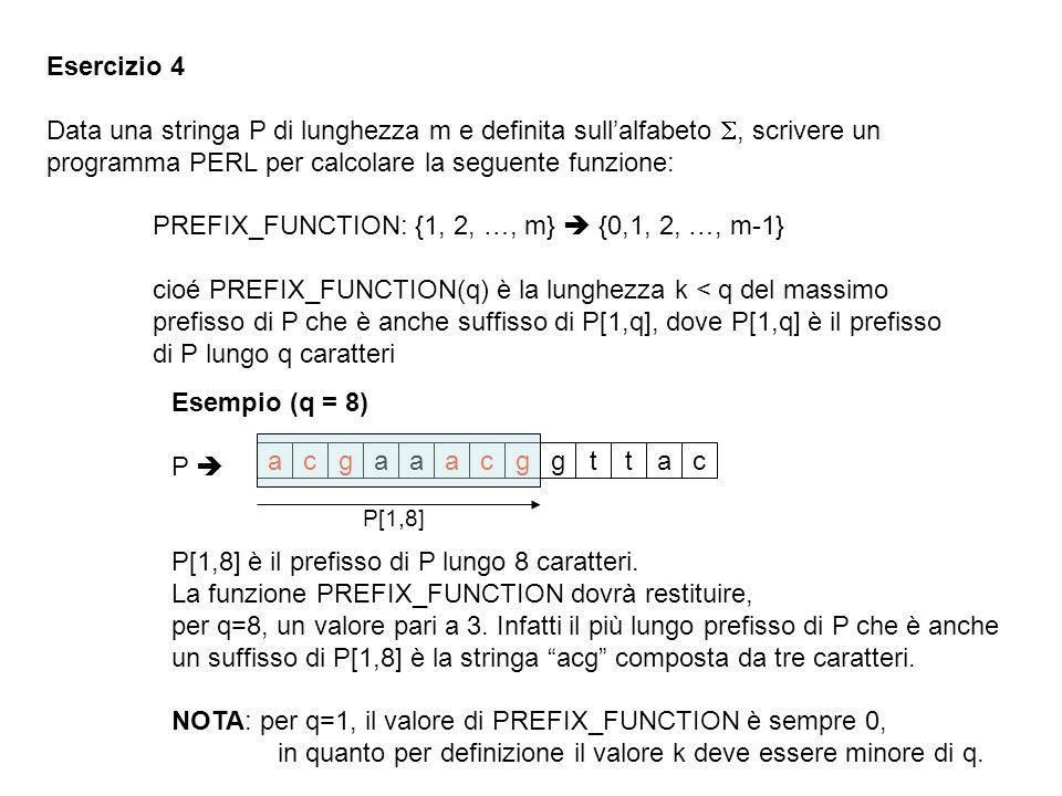 Esercizio 4 Data una stringa P di lunghezza m e definita sullalfabeto, scrivere un programma PERL per calcolare la seguente funzione: PREFIX_FUNCTION: {1, 2, …, m} {0,1, 2, …, m-1} cioé PREFIX_FUNCTION(q) è la lunghezza k < q del massimo prefisso di P che è anche suffisso di P[1,q], dove P[1,q] è il prefisso di P lungo q caratteri Esempio (q = 8) P P[1,8] è il prefisso di P lungo 8 caratteri.