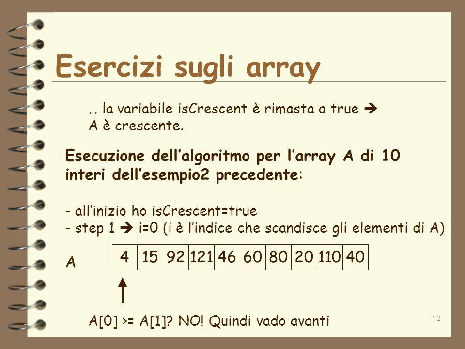 12 Esercizi sugli array … la variabile isCrescent è rimasta a true A è crescente.