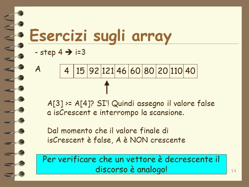 14 Esercizi sugli array A - step 4 i=3 A[3] >= A[4]? SI! Quindi assegno il valore false a isCrescent e interrompo la scansione. Dal momento che il val