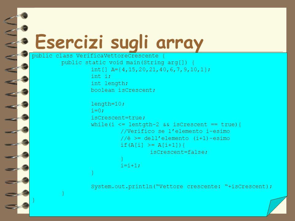 15 Esercizi sugli array public class VerificaVettoreCrescente { public static void main(String arg[]) { int[] A={4,15,20,21,40,6,7,9,10,1}; int i; int length; boolean isCrescent; length=10; i=0; isCrescent=true; while(i <= lentgth-2 && isCrescent == true){ //Verifico se lelemento i-esimo //è >= dellelemento (i+1)-esimo if(A[i] >= A[i+1]){ isCrescent=false; } i=i+1; } System.out.println(Vettore crescente: +isCrescent); }
