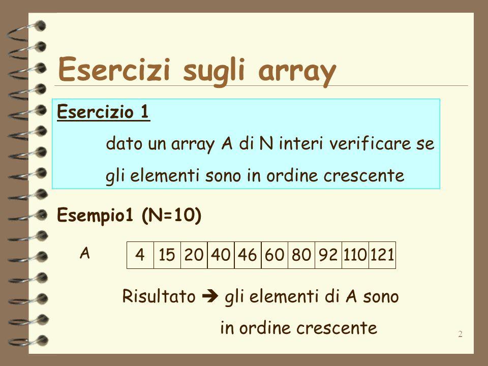 2 Esercizi sugli array Esercizio 1 dato un array A di N interi verificare se gli elementi sono in ordine crescente Esempio1 (N=10) 415204046608092110121 Risultato gli elementi di A sono in ordine crescente A