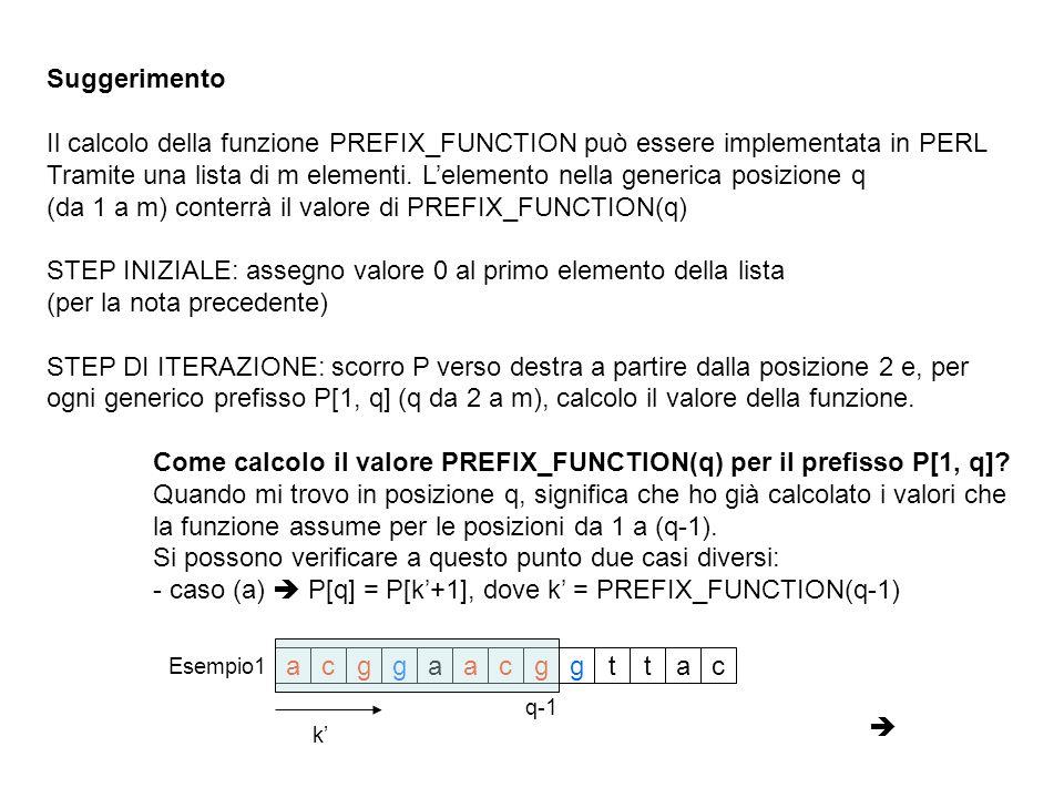 Suggerimento Il calcolo della funzione PREFIX_FUNCTION può essere implementata in PERL Tramite una lista di m elementi. Lelemento nella generica posiz