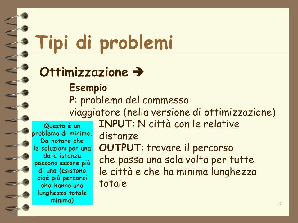 10 Tipi di problemi Ottimizzazione Esempio P: problema del commesso viaggiatore (nella versione di ottimizzazione) INPUT: N città con le relative dist