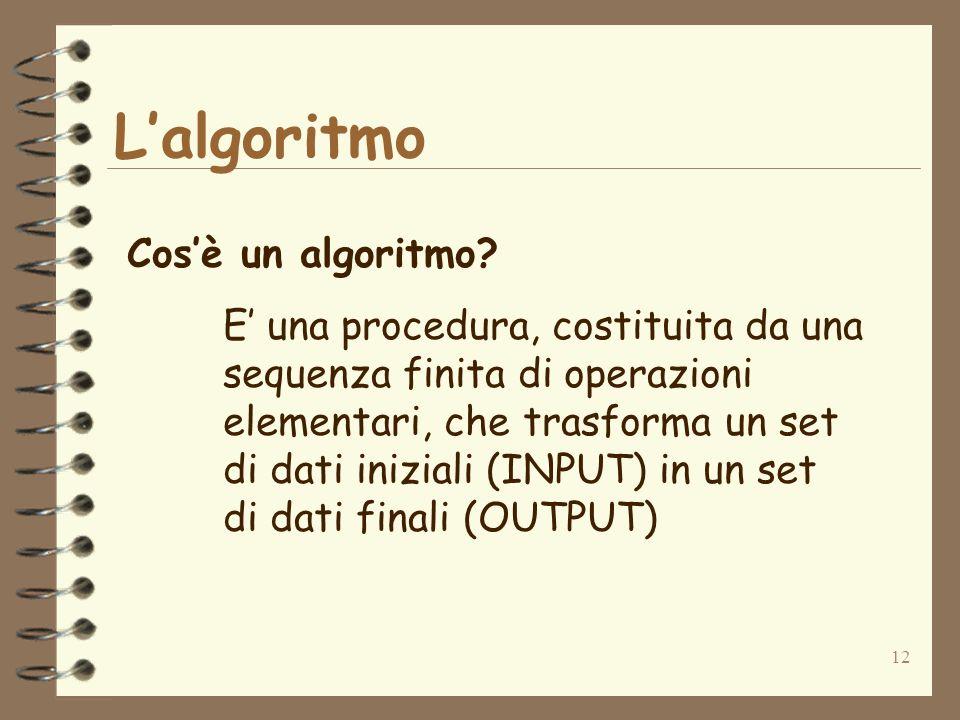 12 Lalgoritmo Cosè un algoritmo.