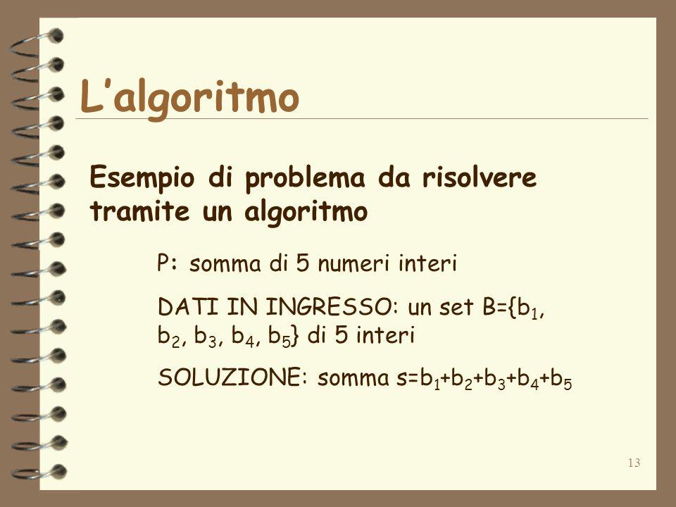 13 Lalgoritmo Esempio di problema da risolvere tramite un algoritmo P: somma di 5 numeri interi DATI IN INGRESSO: un set B={b 1, b 2, b 3, b 4, b 5 } di 5 interi SOLUZIONE: somma s=b 1 +b 2 +b 3 +b 4 +b 5