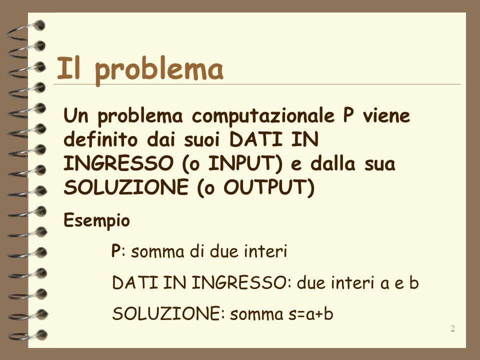 2 Il problema Un problema computazionale P viene definito dai suoi DATI IN INGRESSO (o INPUT) e dalla sua SOLUZIONE (o OUTPUT) Esempio P: somma di due interi DATI IN INGRESSO: due interi a e b SOLUZIONE: somma s=a+b