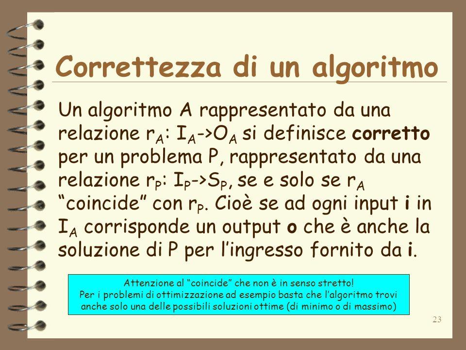 23 Correttezza di un algoritmo Un algoritmo A rappresentato da una relazione r A : I A ->O A si definisce corretto per un problema P, rappresentato da una relazione r P : I P ->S P, se e solo se r A coincide con r P.