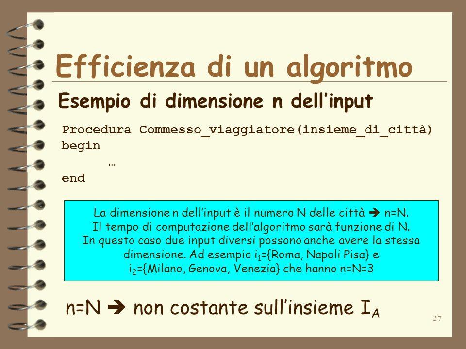 27 Efficienza di un algoritmo Esempio di dimensione n dellinput Procedura Commesso_viaggiatore(insieme_di_città) begin … end n=N non costante sullinsieme I A La dimensione n dellinput è il numero N delle città n=N.