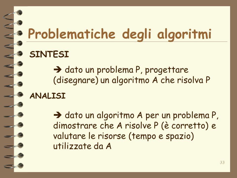 33 Problematiche degli algoritmi SINTESI dato un problema P, progettare (disegnare) un algoritmo A che risolva P ANALISI dato un algoritmo A per un problema P, dimostrare che A risolve P (è corretto) e valutare le risorse (tempo e spazio) utilizzate da A
