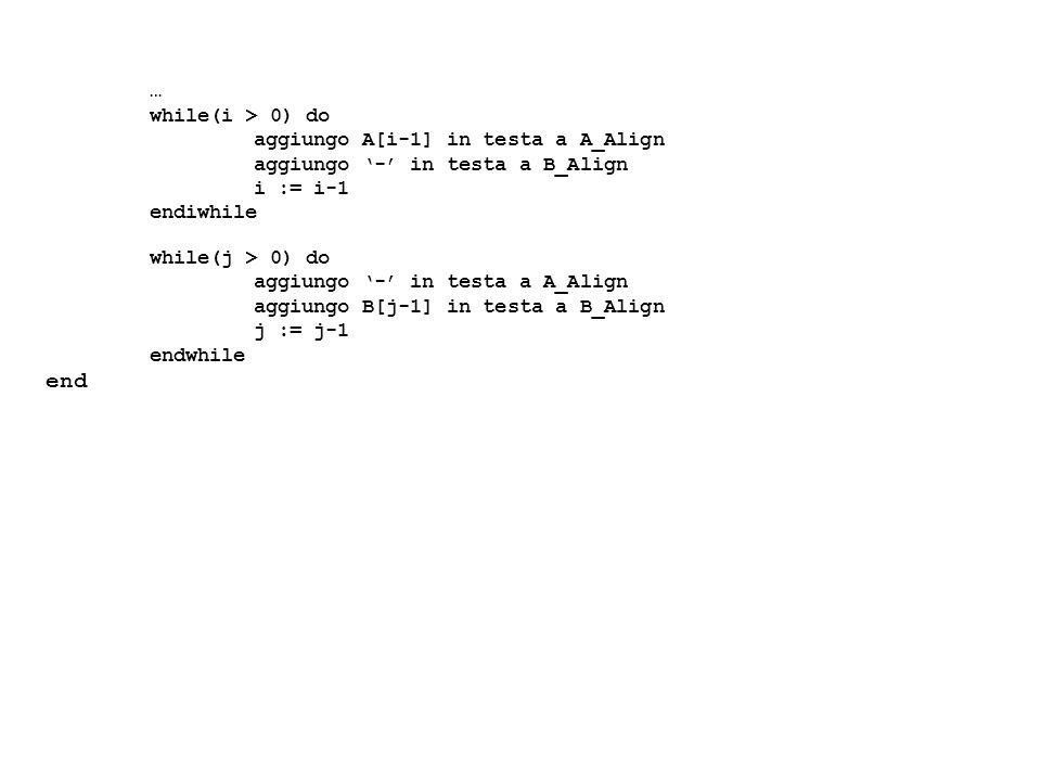 while(i > 0) do aggiungo A[i-1] in testa a A_Align aggiungo - in testa a B_Align i := i-1 endiwhile while(j > 0) do aggiungo - in testa a A_Align aggi