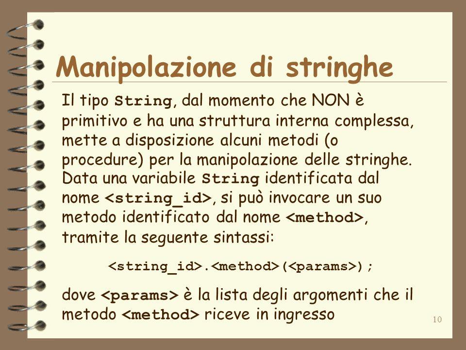 10 Manipolazione di stringhe Il tipo String, dal momento che NON è primitivo e ha una struttura interna complessa, mette a disposizione alcuni metodi (o procedure) per la manipolazione delle stringhe.