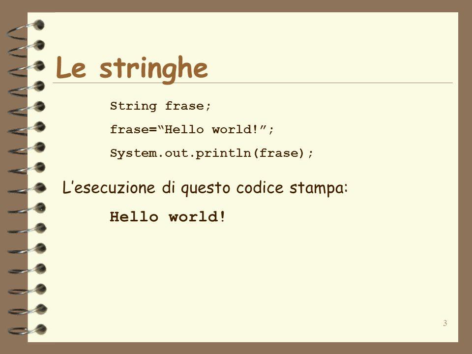 4 Letterali stringa e carattere Letterale stringa sequenza di caratteri racchiusa tra doppi apici esempio: Hello world.