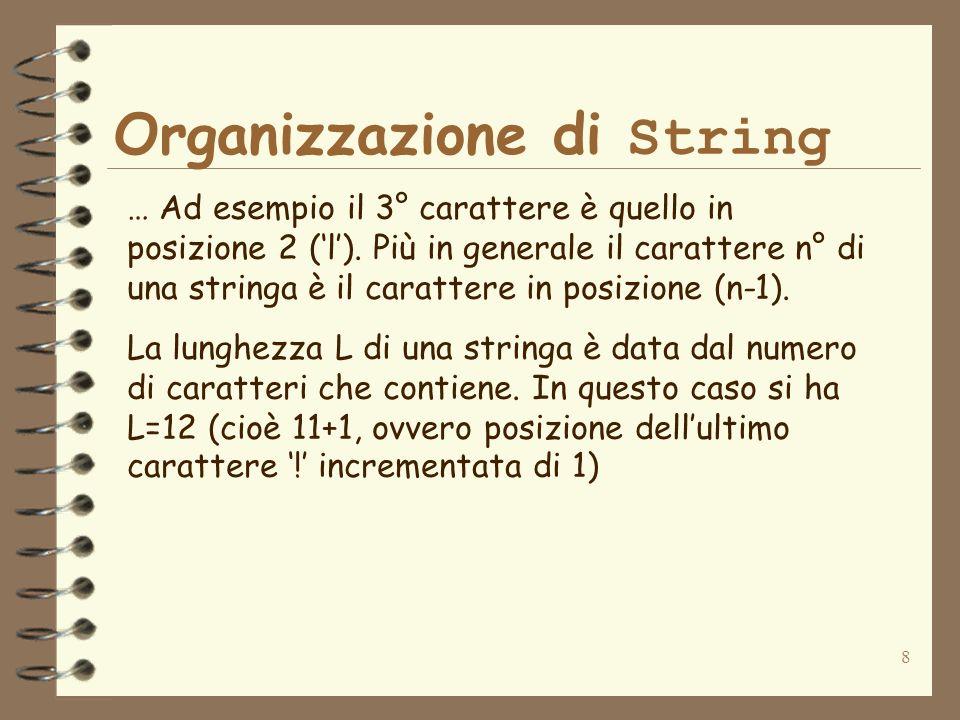 8 Organizzazione di String … Ad esempio il 3° carattere è quello in posizione 2 (l). Più in generale il carattere n° di una stringa è il carattere in