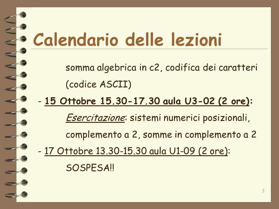 3 Calendario delle lezioni somma algebrica in c2, codifica dei caratteri (codice ASCII) - 15 Ottobre 15.30-17.30 aula U3-02 (2 ore): Esercitazione: sistemi numerici posizionali, complemento a 2, somme in complemento a 2 - 17 Ottobre 13.30-15.30 aula U1-09 (2 ore): SOSPESA!!