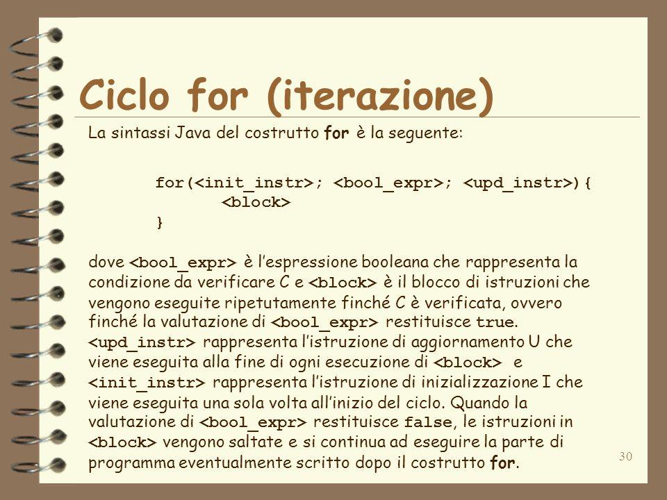 30 Ciclo for (iterazione) La sintassi Java del costrutto for è la seguente: for( ; ; ){ } dove è lespressione booleana che rappresenta la condizione d