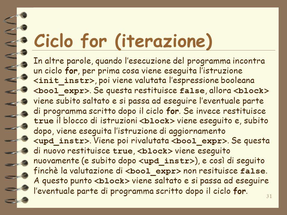 31 Ciclo for (iterazione) In altre parole, quando lesecuzione del programma incontra un ciclo for, per prima cosa viene eseguita listruzione, poi vien