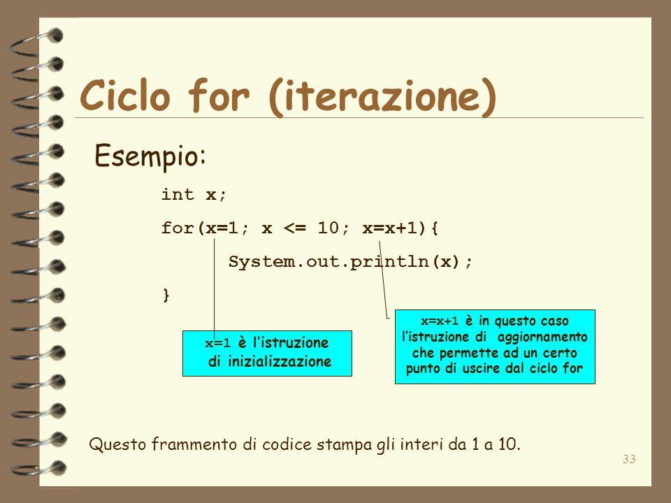 33 Ciclo for (iterazione) Esempio: int x; for(x=1; x <= 10; x=x+1){ System.out.println(x); } x=x+1 è in questo caso listruzione di aggiornamento che p