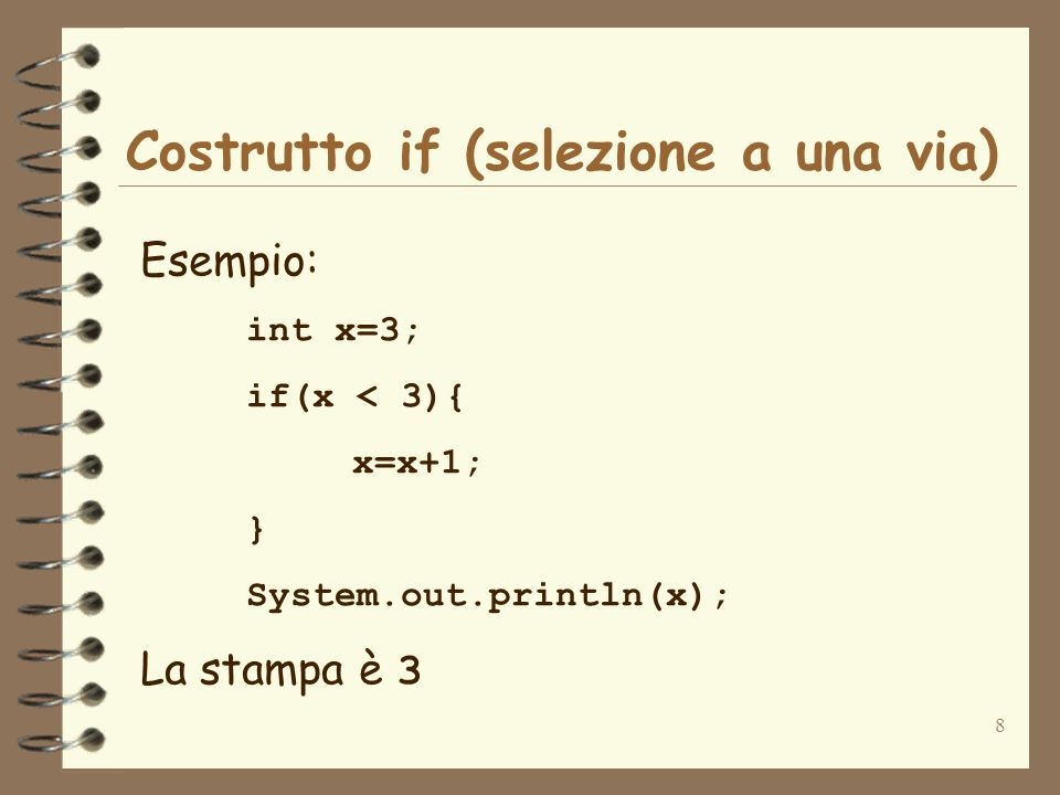 19 Ciclo while (iterazione) Esempio: int x=1; while(x <= 10){ System.out.println(x); x=x+1; } Questo frammento di codice stampa gli interi da 1 a 10.