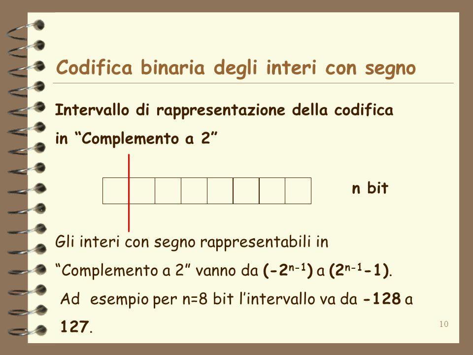 10 Codifica binaria degli interi con segno Intervallo di rappresentazione della codifica in Complemento a 2 n bit Gli interi con segno rappresentabili
