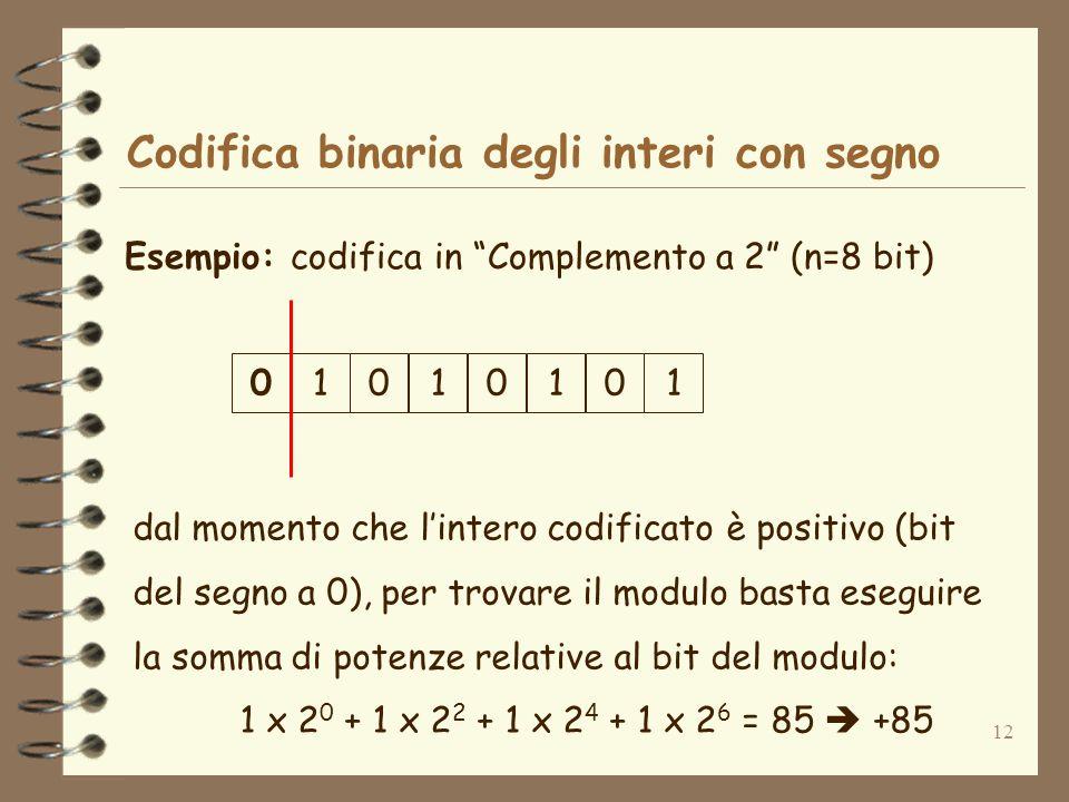 12 Codifica binaria degli interi con segno Esempio: codifica in Complemento a 2 (n=8 bit) dal momento che lintero codificato è positivo (bit del segno