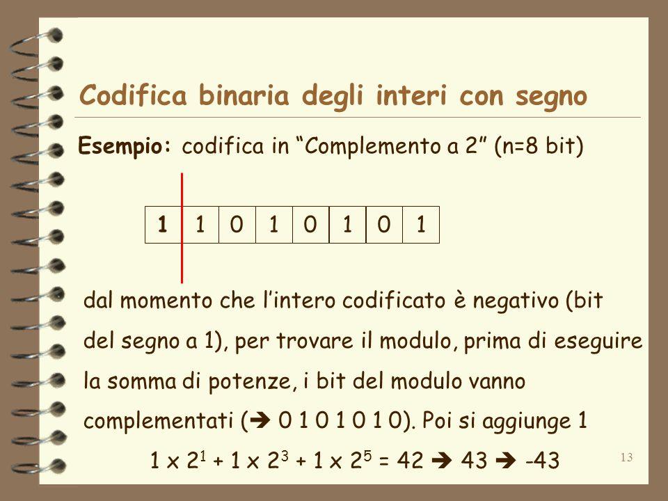 13 Codifica binaria degli interi con segno Esempio: codifica in Complemento a 2 (n=8 bit) dal momento che lintero codificato è negativo (bit del segno