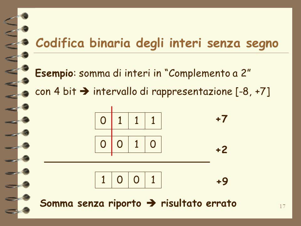 17 Codifica binaria degli interi senza segno Esempio: somma di interi in Complemento a 2 con 4 bit intervallo di rappresentazione [-8, +7] 1110 +7 +2