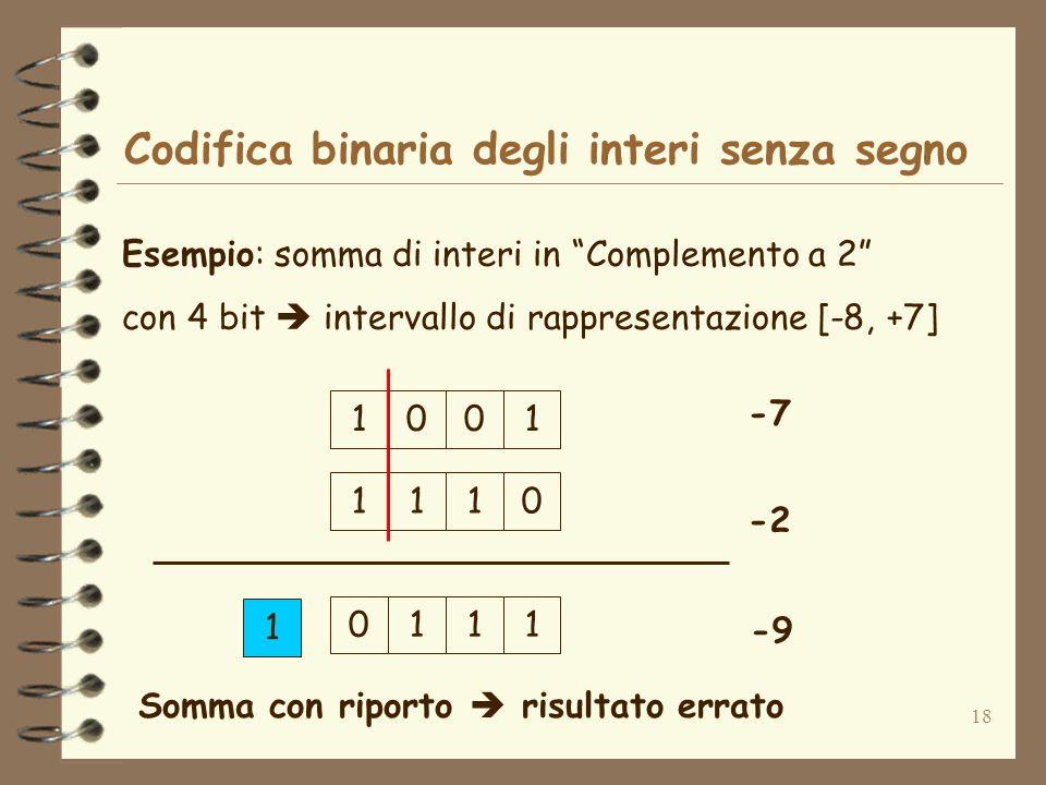 18 Codifica binaria degli interi senza segno Esempio: somma di interi in Complemento a 2 con 4 bit intervallo di rappresentazione [-8, +7] 0011 -7 -2