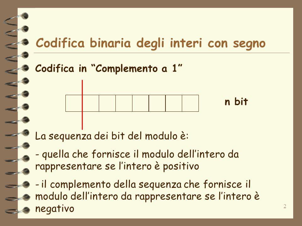 2 Codifica binaria degli interi con segno Codifica in Complemento a 1 n bit La sequenza dei bit del modulo è: - quella che fornisce il modulo dellinte