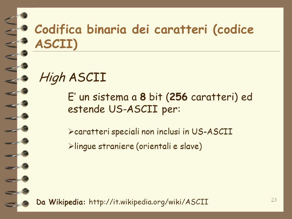 23 Codifica binaria dei caratteri (codice ASCII) High ASCII E un sistema a 8 bit (256 caratteri) ed estende US-ASCII per: caratteri speciali non inclu