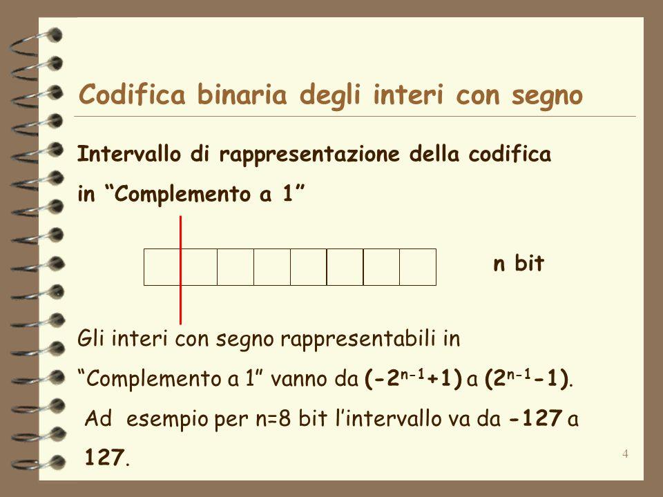 4 Codifica binaria degli interi con segno Intervallo di rappresentazione della codifica in Complemento a 1 n bit Gli interi con segno rappresentabili