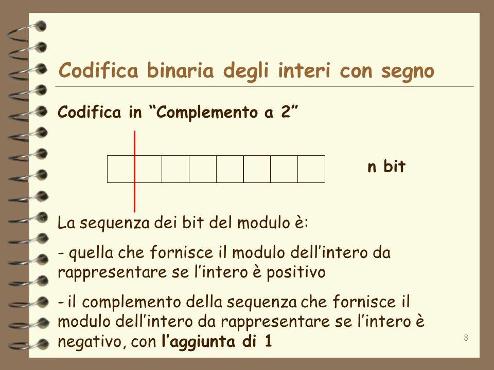 8 Codifica binaria degli interi con segno Codifica in Complemento a 2 n bit La sequenza dei bit del modulo è: - quella che fornisce il modulo dellinte