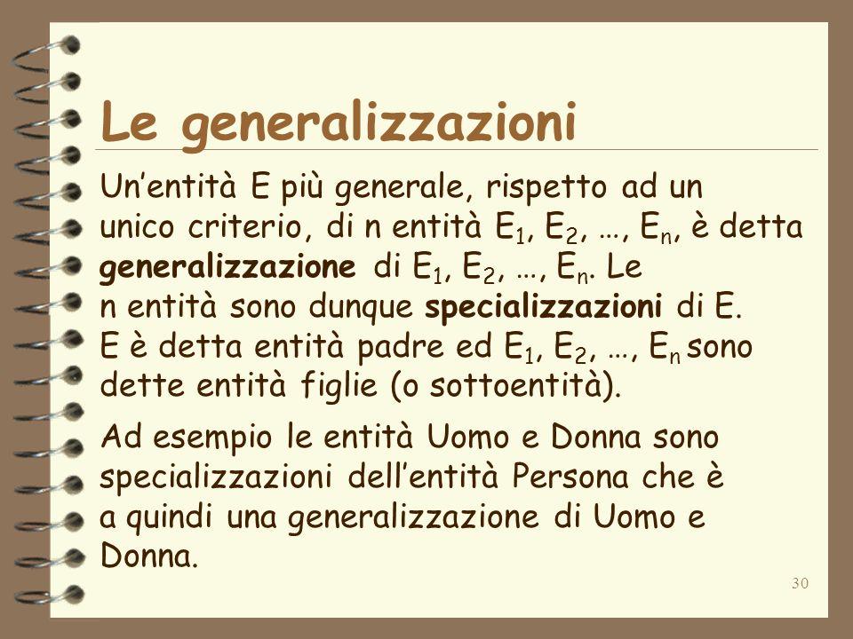 30 Le generalizzazioni Unentità E più generale, rispetto ad un unico criterio, di n entità E 1, E 2, …, E n, è detta generalizzazione di E 1, E 2, …,