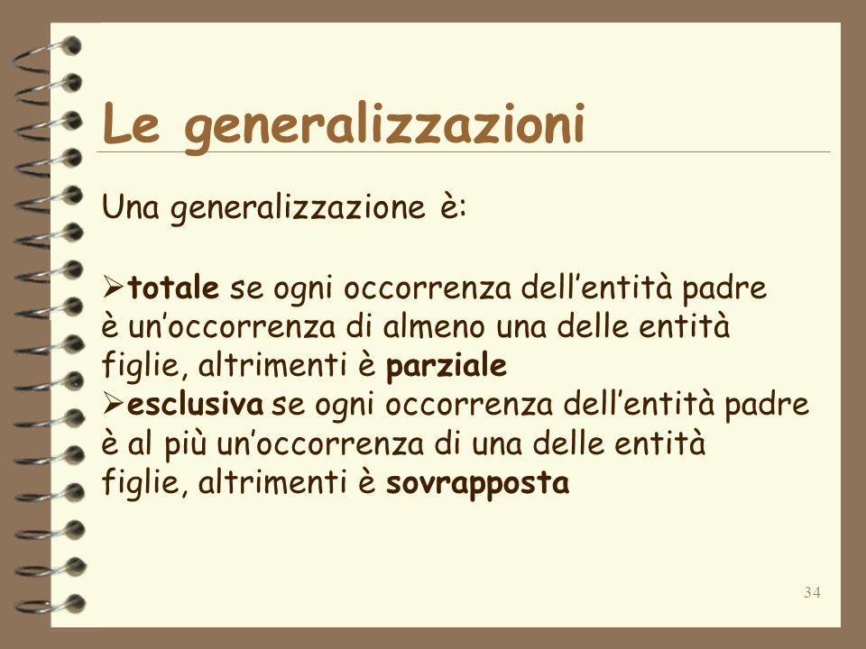34 Le generalizzazioni Una generalizzazione è: totale se ogni occorrenza dellentità padre è unoccorrenza di almeno una delle entità figlie, altrimenti