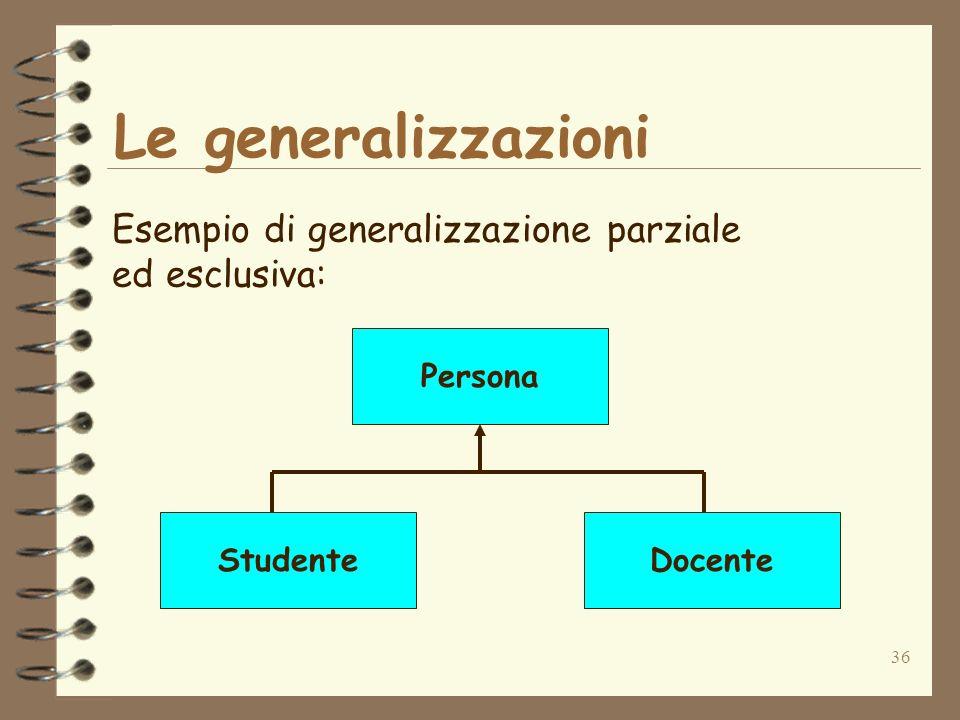 36 Le generalizzazioni Esempio di generalizzazione parziale ed esclusiva: Persona StudenteDocente