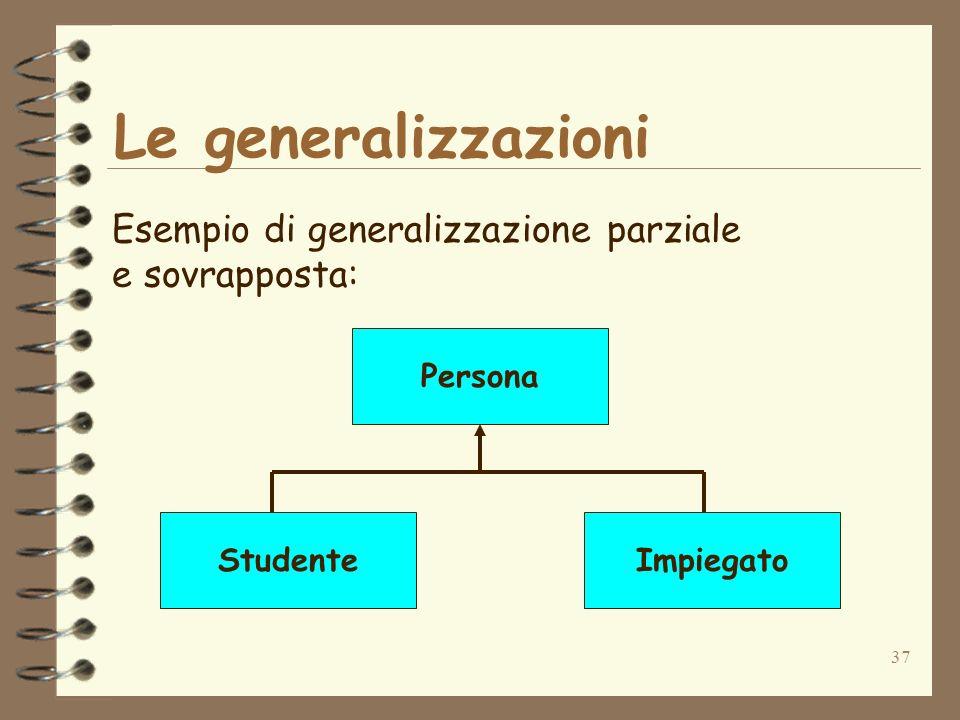 37 Le generalizzazioni Esempio di generalizzazione parziale e sovrapposta: Persona StudenteImpiegato