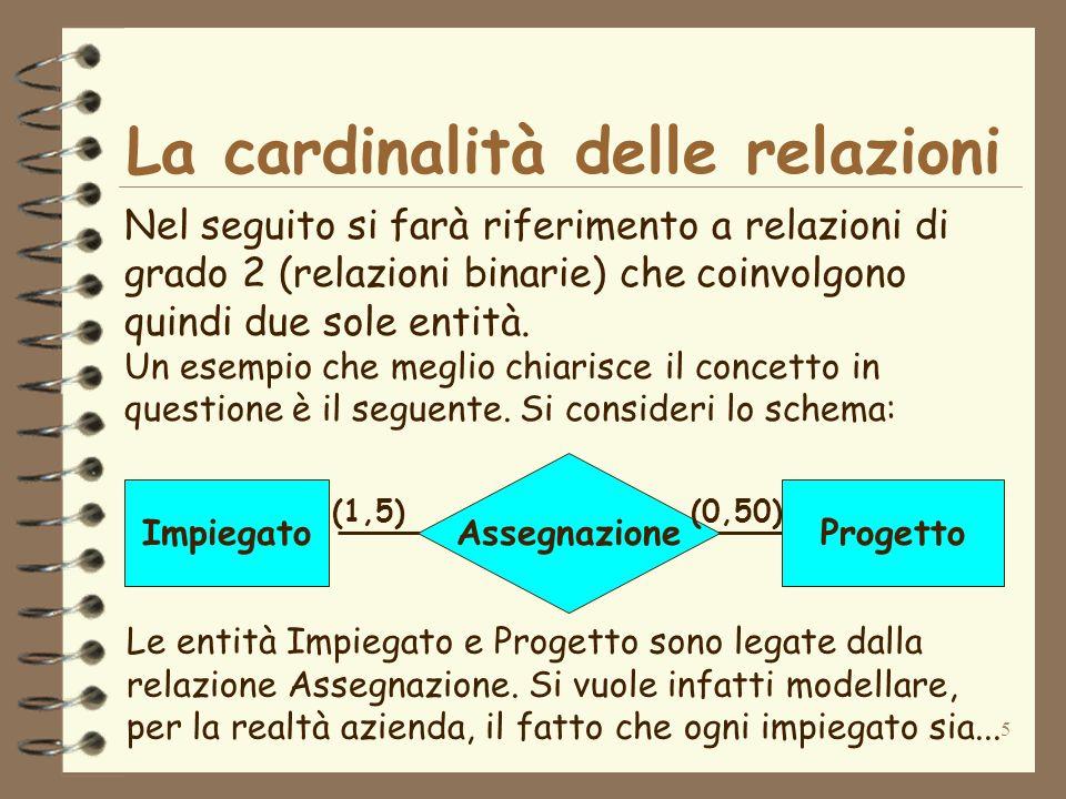 5 La cardinalità delle relazioni Nel seguito si farà riferimento a relazioni di grado 2 (relazioni binarie) che coinvolgono quindi due sole entità. Un