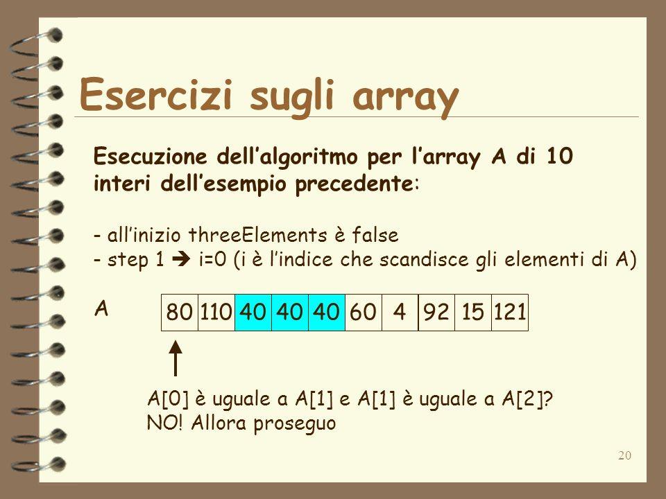 20 Esercizi sugli array A Esecuzione dellalgoritmo per larray A di 10 interi dellesempio precedente: - allinizio threeElements è false - step 1 i=0 (i è lindice che scandisce gli elementi di A) A[0] è uguale a A[1] e A[1] è uguale a A[2].