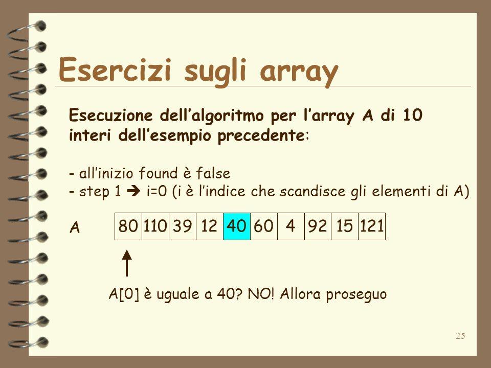 25 Esercizi sugli array A Esecuzione dellalgoritmo per larray A di 10 interi dellesempio precedente: - allinizio found è false - step 1 i=0 (i è lindice che scandisce gli elementi di A) A[0] è uguale a 40.