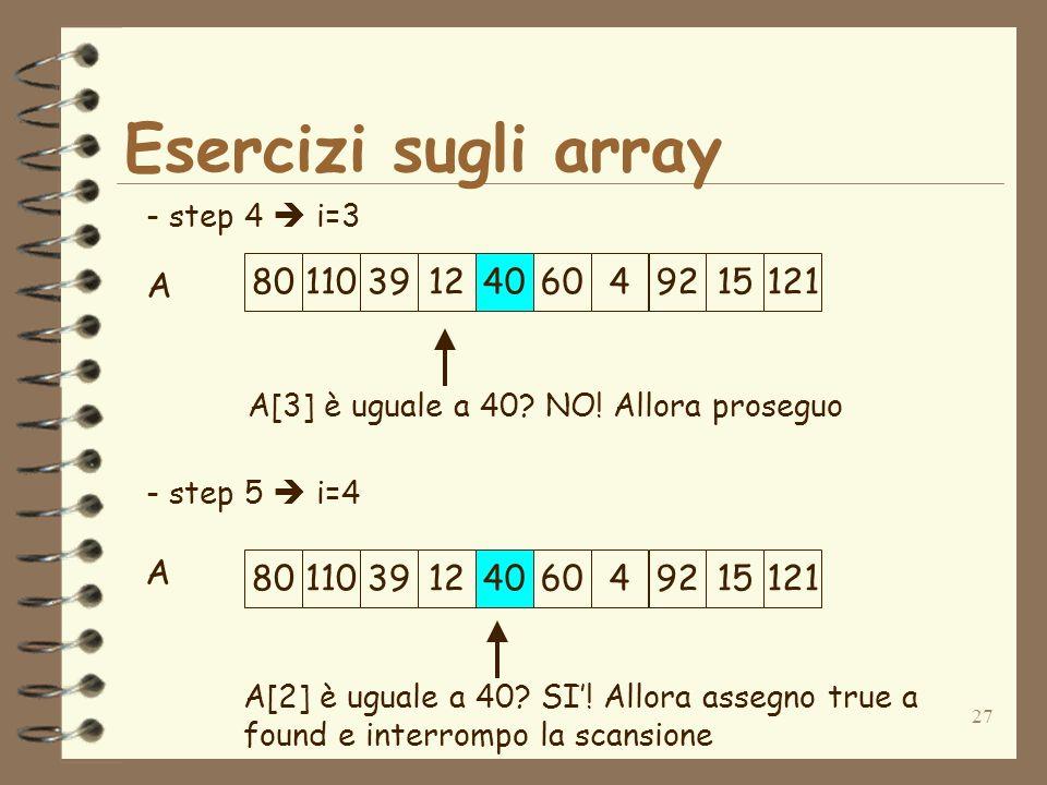27 Esercizi sugli array A - step 4 i=3 - step 5 i=4 A[3] è uguale a 40.