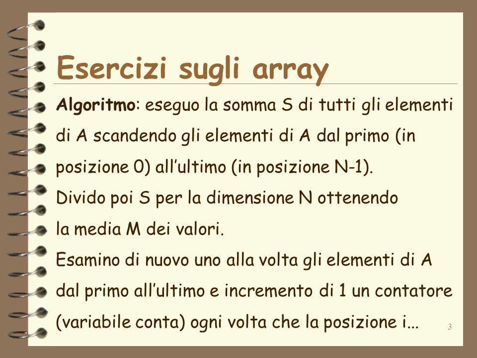3 Esercizi sugli array Algoritmo: eseguo la somma S di tutti gli elementi di A scandendo gli elementi di A dal primo (in posizione 0) allultimo (in posizione N-1).