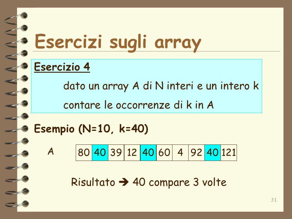 31 Esercizi sugli array Esercizio 4 dato un array A di N interi e un intero k contare le occorrenze di k in A Esempio (N=10, k=40) Risultato 40 compare 3 volte 80403912406049240121 A