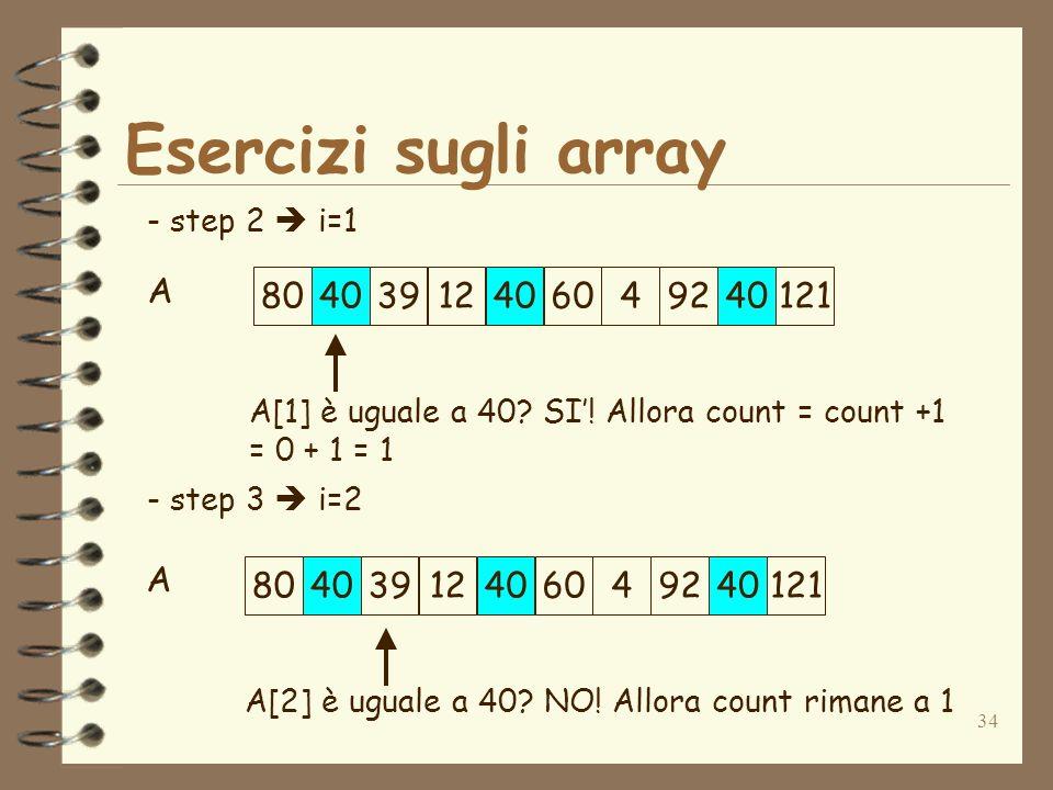 34 Esercizi sugli array A - step 2 i=1 - step 3 i=2 A[1] è uguale a 40.