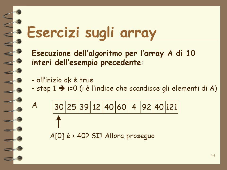 44 Esercizi sugli array A Esecuzione dellalgoritmo per larray A di 10 interi dellesempio precedente: - allinizio ok è true - step 1 i=0 (i è lindice che scandisce gli elementi di A) A[0] è < 40.