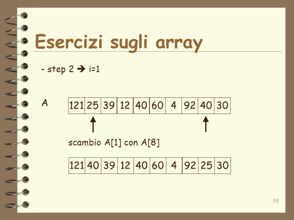 58 Esercizi sugli array A - step 2 i=1 scambio A[1] con A[8] 1212539124060492403012140391240604922530