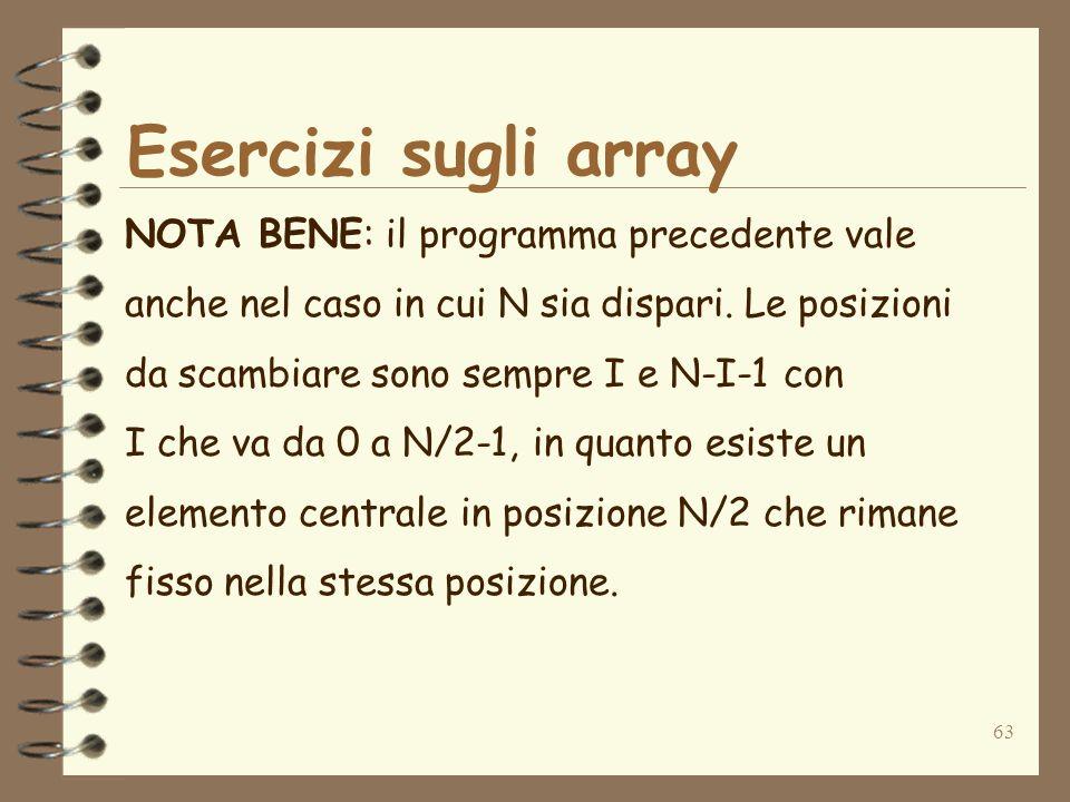 63 Esercizi sugli array NOTA BENE: il programma precedente vale anche nel caso in cui N sia dispari.