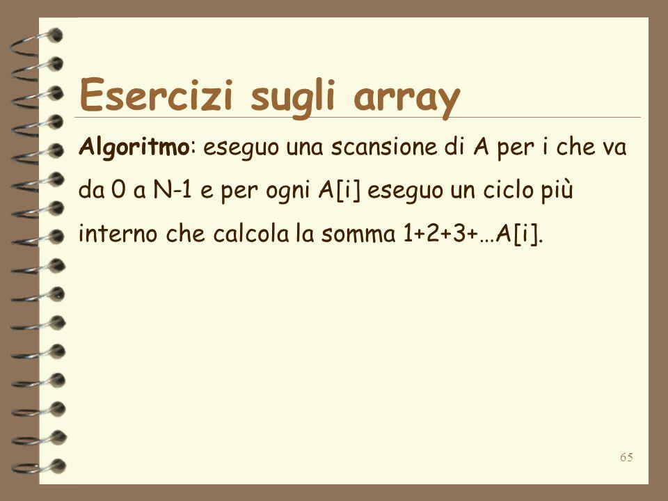 65 Esercizi sugli array Algoritmo: eseguo una scansione di A per i che va da 0 a N-1 e per ogni A[i] eseguo un ciclo più interno che calcola la somma 1+2+3+…A[i].