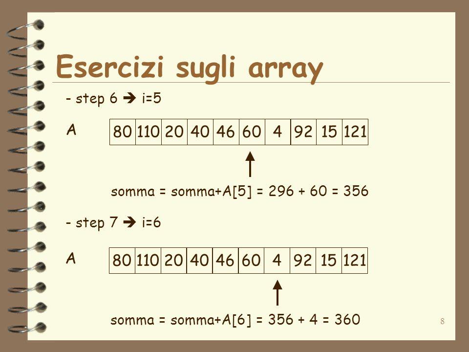 8 Esercizi sugli array A - step 6 i=5 - step 7 i=6 801102040466049215121 somma = somma+A[5] = 296 + 60 = 356 A 801102040466049215121 somma = somma+A[6] = 356 + 4 = 360