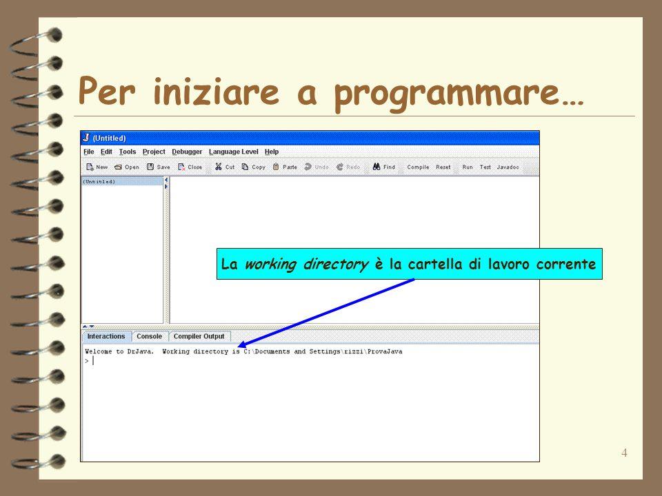 5 Utilizzo di DrJava Esistono due modalità di utilizzo di DrJava: 1.Modalità interattiva tramite il pannello Interactions 2.Modalità di editing di un programma