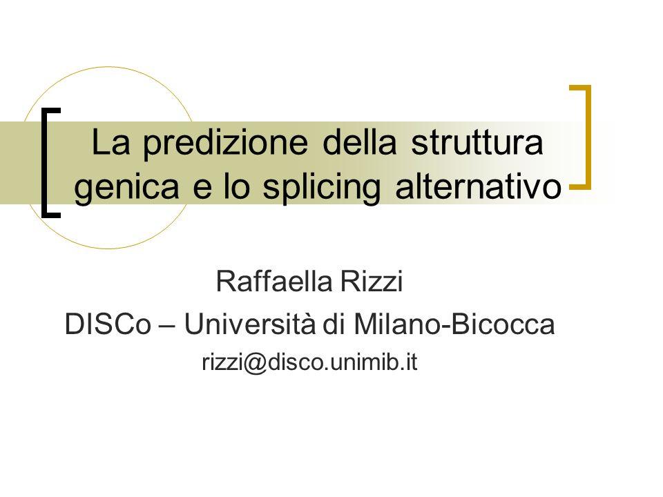 La predizione della struttura genica e lo splicing alternativo Raffaella Rizzi DISCo – Università di Milano-Bicocca rizzi@disco.unimib.it