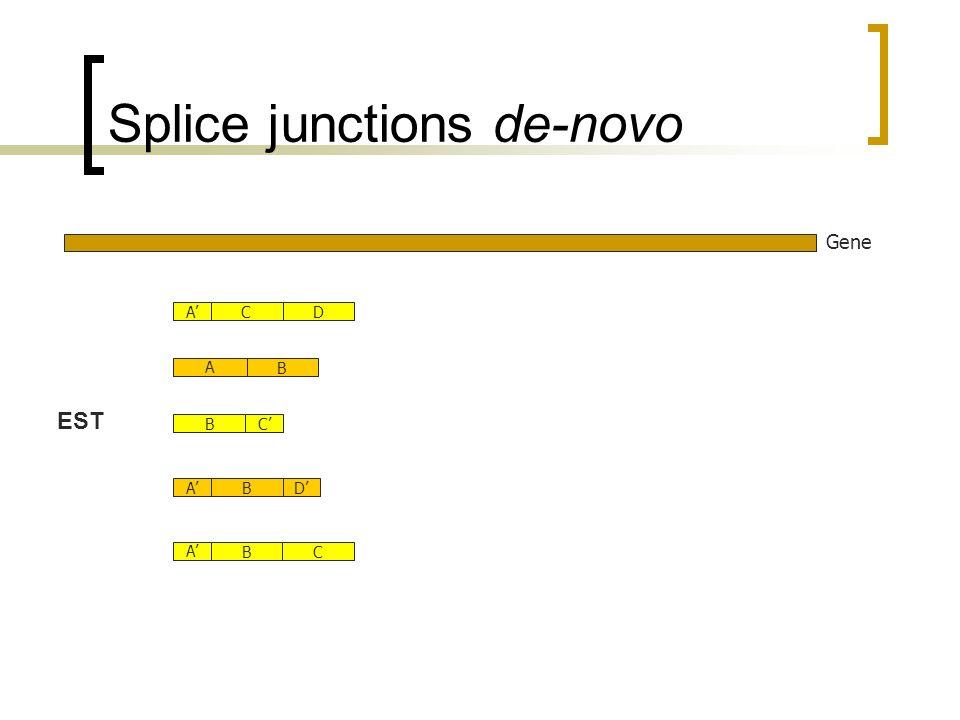 Splice junctions de-novo Gene A BC DABCBDAC EST B A